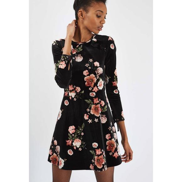 948fd1348e Topshop Black Velvet Floral Flippy Skater Dress 6.  M 5b8fddaaa31c33da8431ecd3